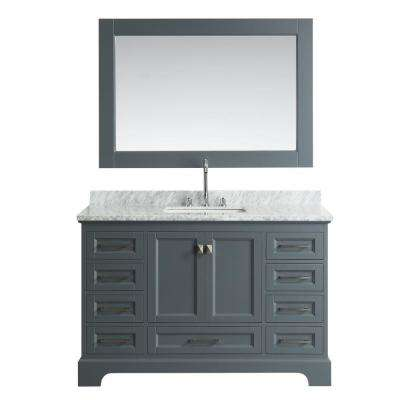 Omega 54 in. W x 22 in. D Vanity in Gary with Marble Vanity Top in Carrara White with White Basin and Mirror