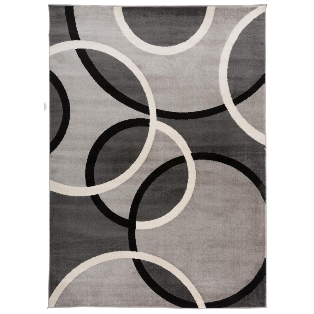 World Rug Gallery Modern Abstract Circles Gray 3 Ft 3 In