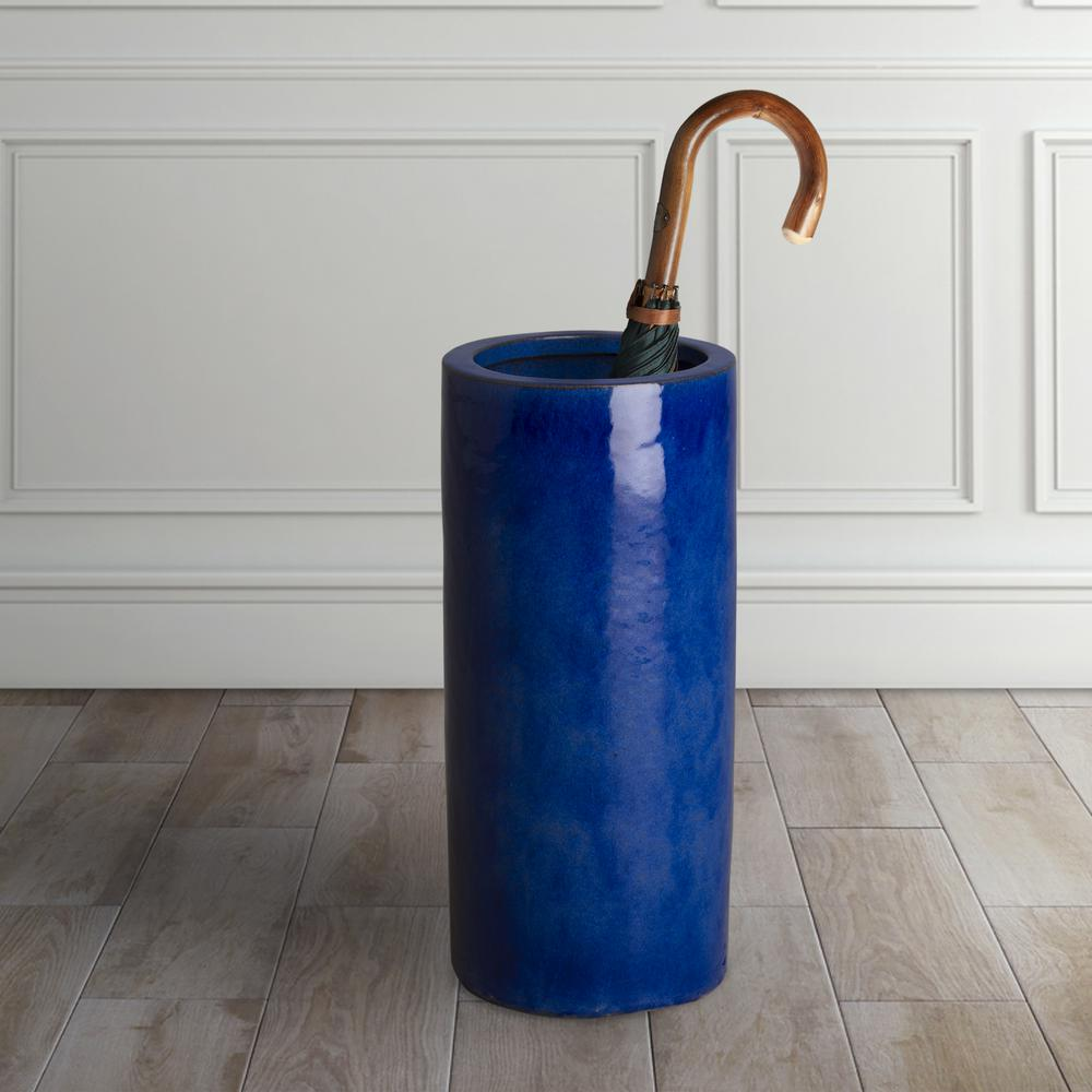 Blue Ceramic Umbrella Stand