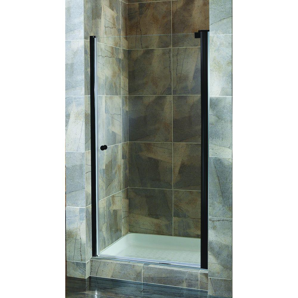 Foremost Cove 30.5 in. to 32.5 in. x 72 in. H Semi-Framed Pivot Shower Door in Oil Rubbed Bronze with Clear Glass