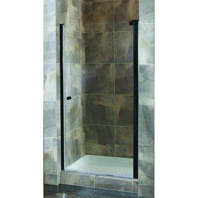 Cove 30.5 in. to 32.5 in. x 72 in. H Semi-Framed Pivot Shower Door in Oil Rubbed Bronze with Clear Glass