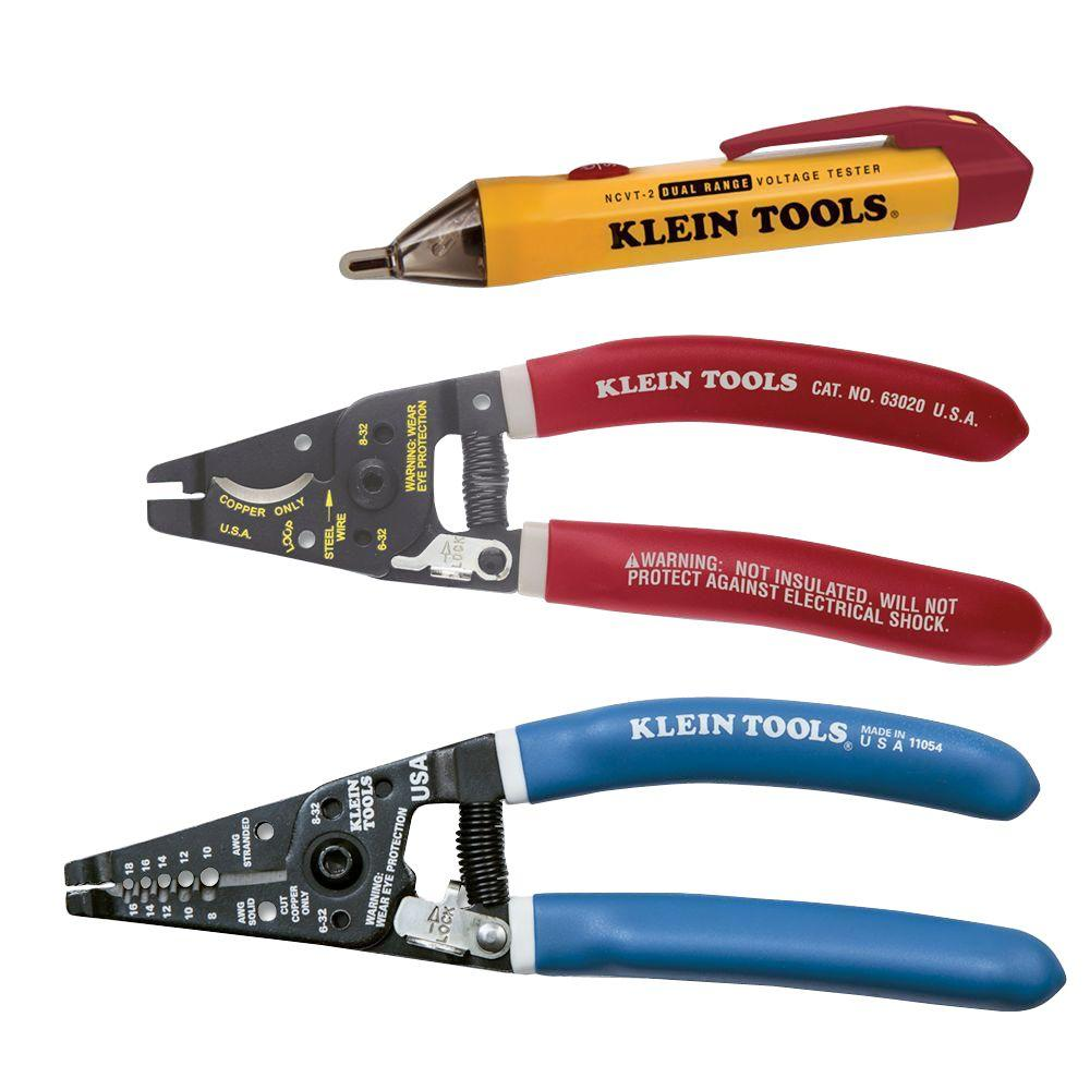 Klein Tools 3-Piece Electrical Wiring Cutter Stripper Pliers Voltage Test  Kit