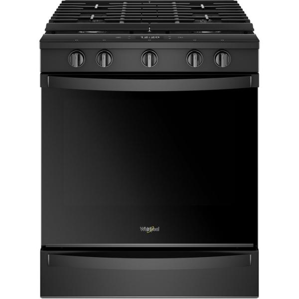 Whirlpool 5.8 cu. ft. Smart Slide-In Gas Range with EZ-2-LIFT Hinged Cast-Iron Grates in Black