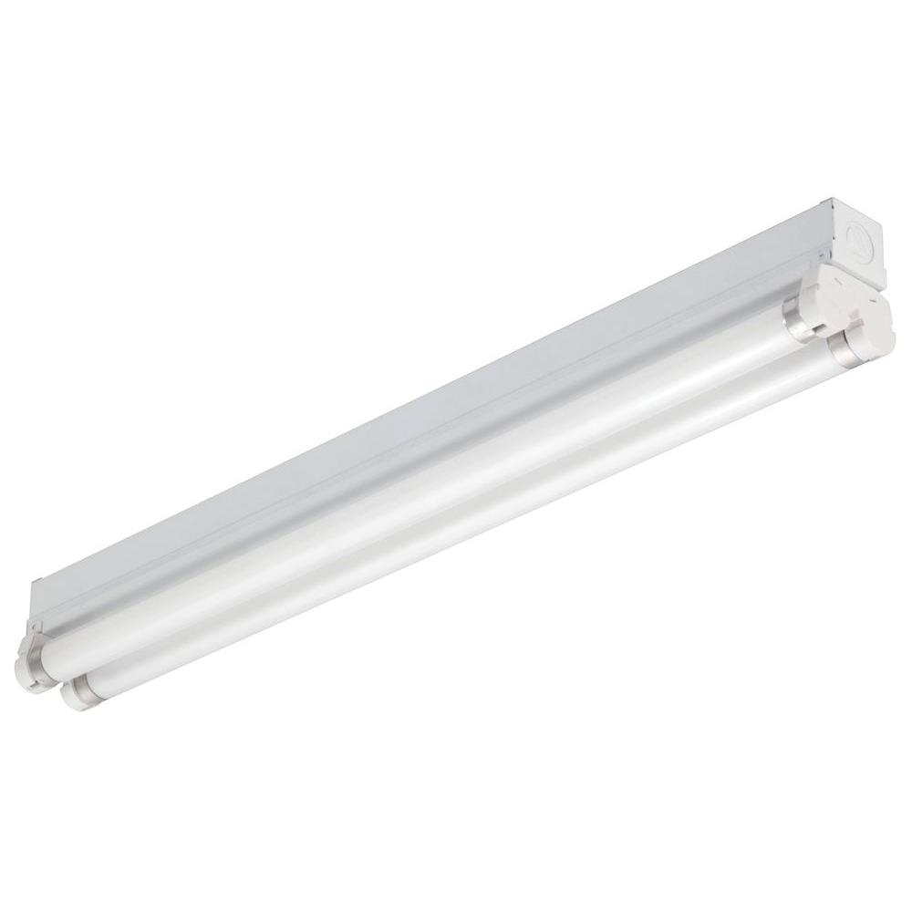 Lithonia Lighting 3 ft. 2-Light Gloss White T8 Fluorescent Strip ...