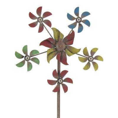 5-Pointed Star Shaped Multi-Colored Iron Windmill Garden Stake