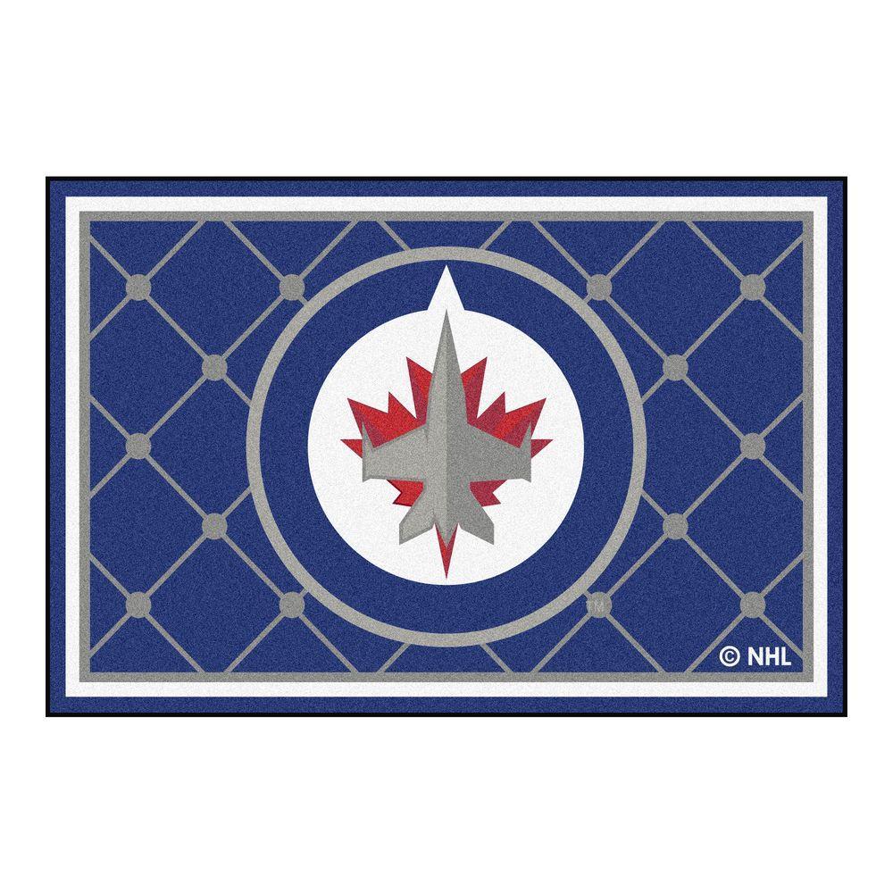 NHL Winnipeg Jets Blue 5 ft. x 8 ft. Indoor Area Rug