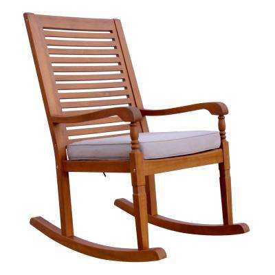 Nantucket Wood Outdoor Rocking Chair with Grey Cushion