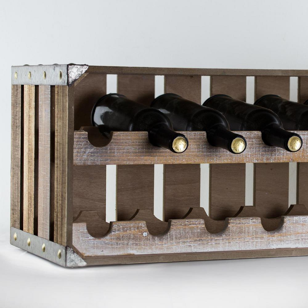 Crystal Art Gallery Rustic Wooden Crate 14 Bottle Wine Rack 163476WEB   The  Home Depot