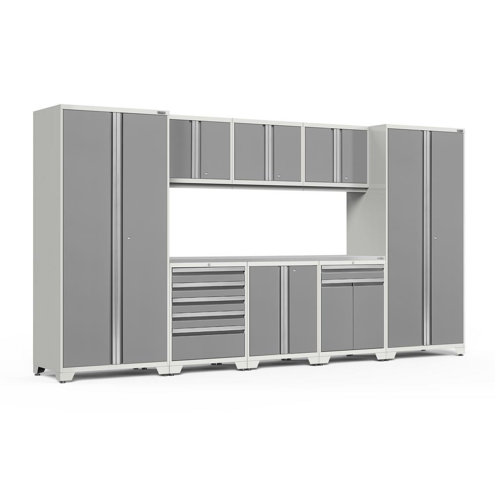 Pro 3.0 156 in. W x 83.25 in. H x 24 in. D 18-Gauge Stainless Steel Worktop Cabinet Set in Platinum (9-Piece)