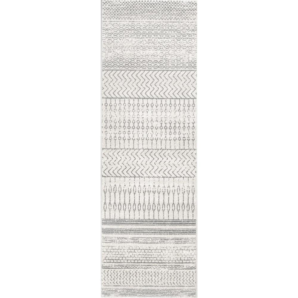 Nova Stripes Gray 2 ft. x 10 ft. Runner Rug