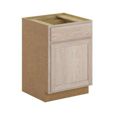 Stratford Assembled 24x34.5x24 in. Oak Base Cabinet with Soft Close Drawer in Unfinished Wood