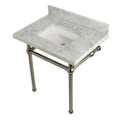 Square-Sink Washstand 30 in. Console Table in Carrara with Metal Legs in Polished Nickel
