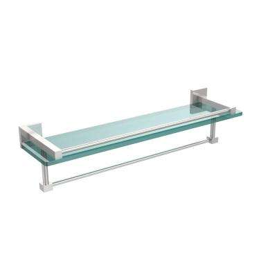 Montero 22 in. L  x 5-1/4 in. H  x 5-3/4 in. W Gallery Clear Glass Bathroom Shelf with Towel Bar in Polished Chrome