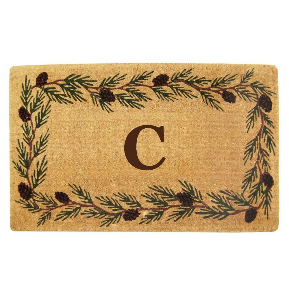 Evergreen 22 in. x 36 in. Heavy Duty Coir Monogrammed C