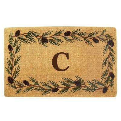 Evergreen 22 in. x 36 in. Heavy Duty Coir Monogrammed C Door Mat