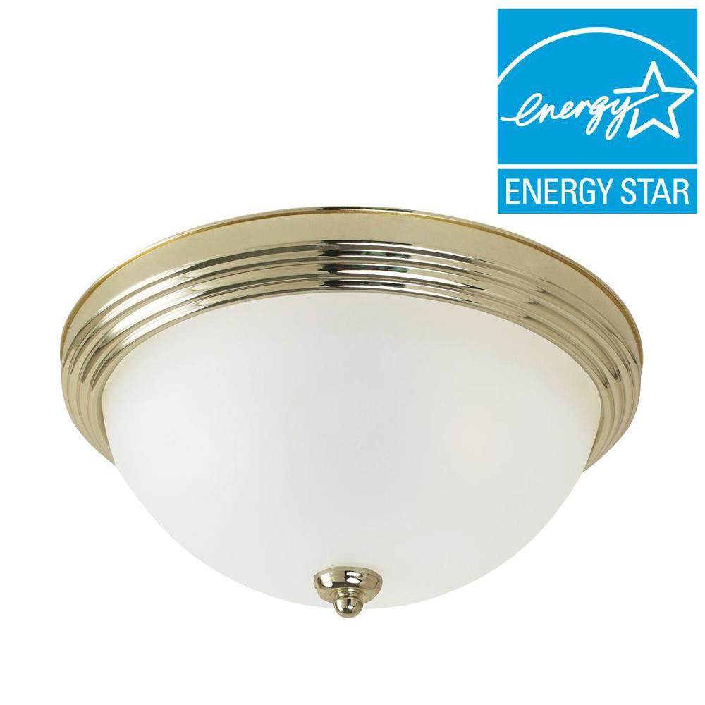 3-Light Ceiling Polished Brass Fluorescent Flush Mount