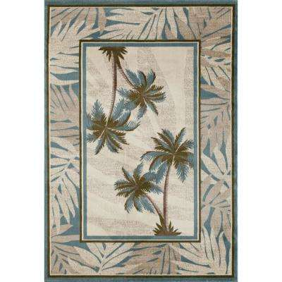 Palm Coast Frond Blue 7 ft. x 9 ft. Area Rug