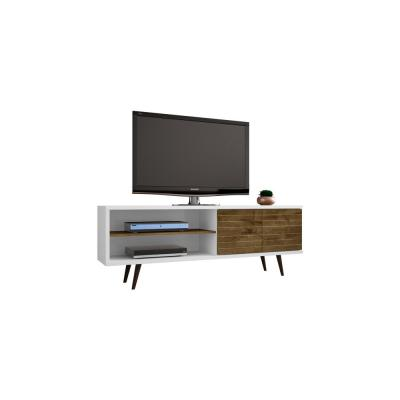 Liberty 63 in. White and Rustic Brown Composite TV Stand Fits TVs Up to 50 in. with Storage Doors