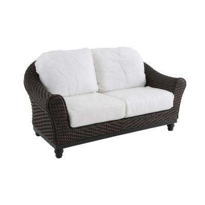 Camden Dark Brown Wicker Outdoor Loveseat with Cushions Included, Choose Your Own Color