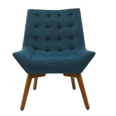 Shelly Azure Fabric Tufted Chair with Coffee Legs