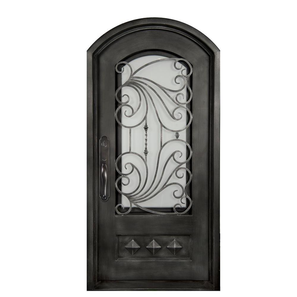 Iron Doors Unlimited 40 in. x 82 in. Mara Marea Classic 3/4 Lite Painted Silver Pewter Frost Wrought Iron Prehung Front Door