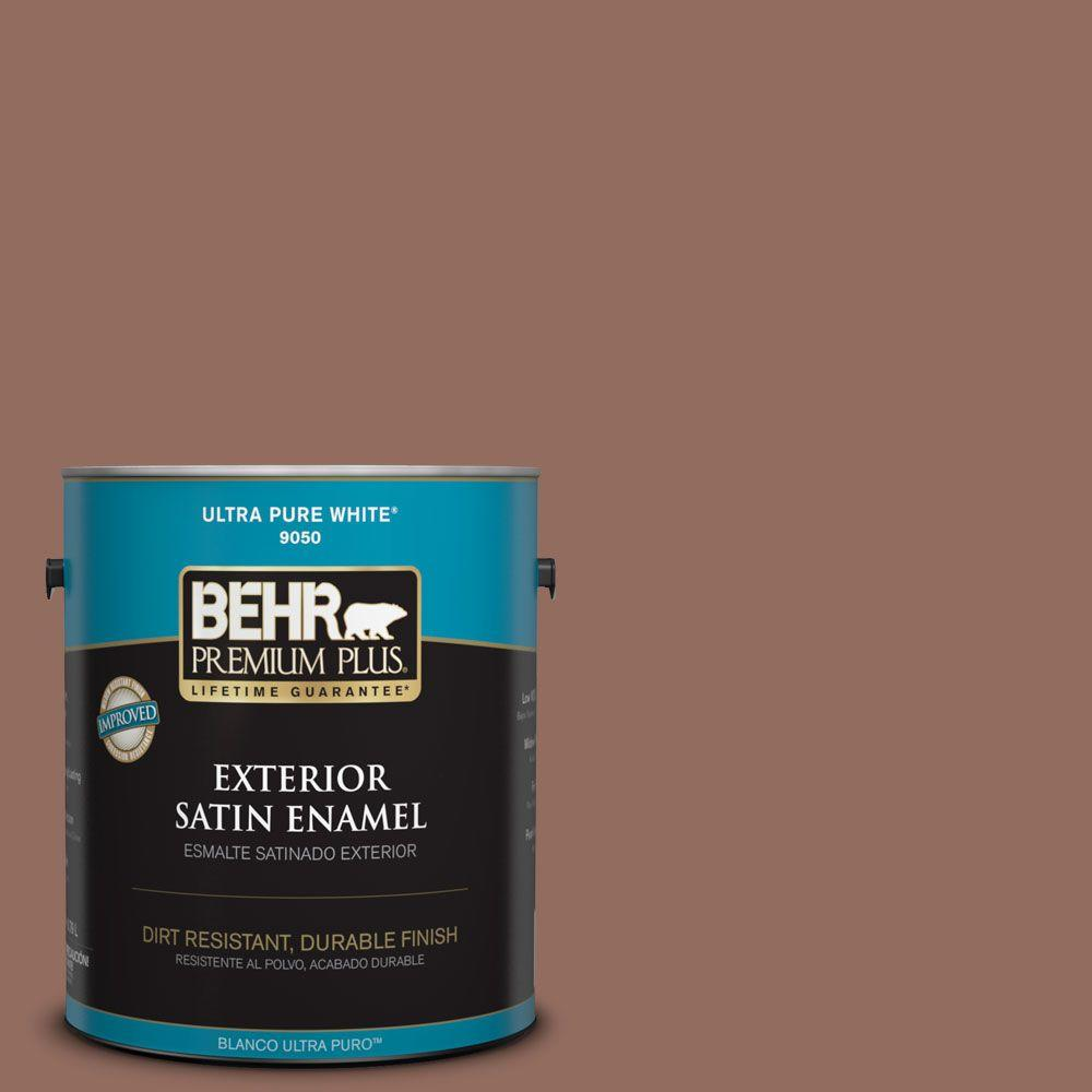 BEHR Premium Plus 1-gal. #220F-6 Chocolate Curl Satin Enamel Exterior Paint