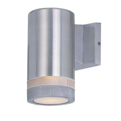 Lightray 4.25 in. W 1-Light Brushed Aluminum Outdoor Wall Lantern Sconce