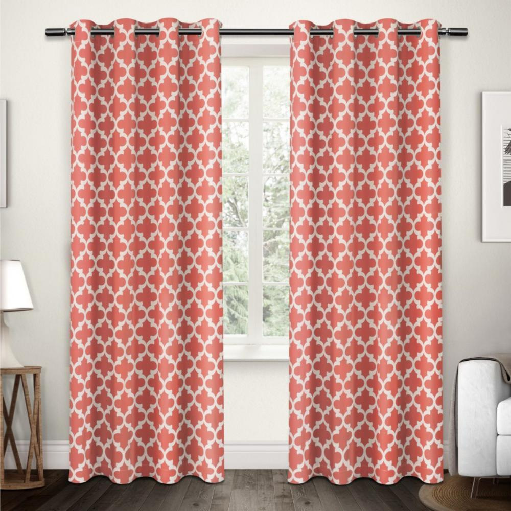 Neptune Coral Cotton Grommet Top Window Curtain-EH7914-07 2-84G ...