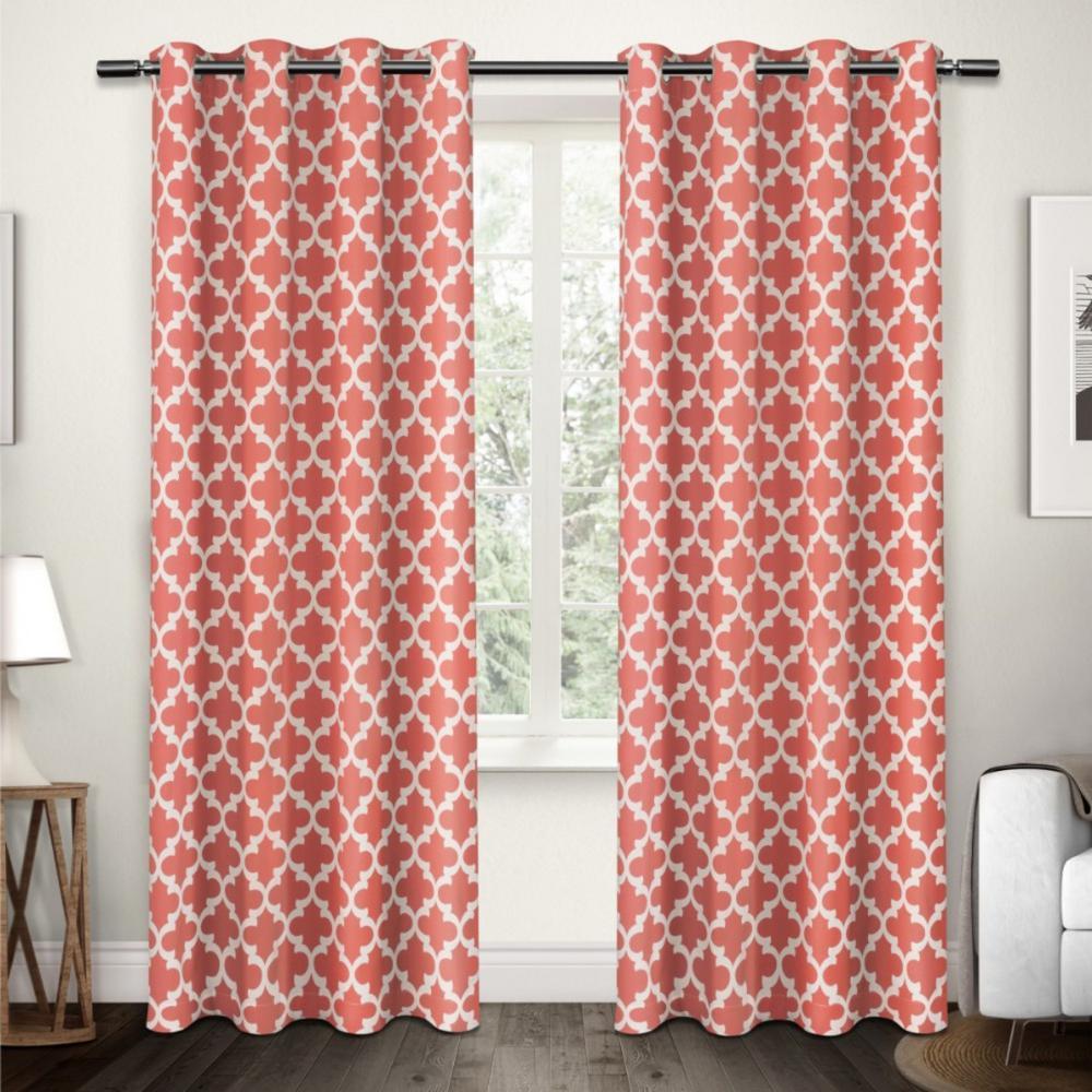 Neptune Coral Cotton Grommet Top Window Curtain
