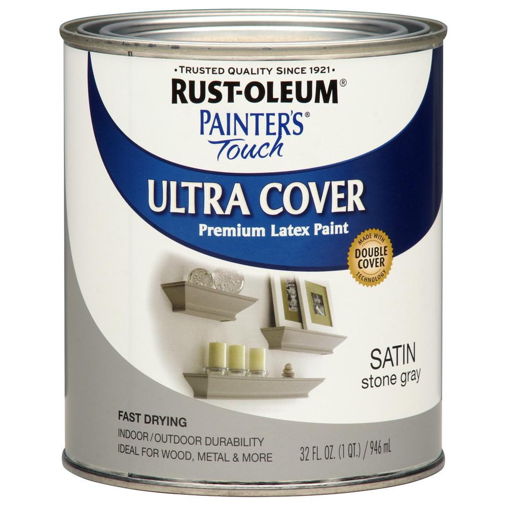 Rust oleum painter 39 s touch 32 oz ultra cover satin stone for Gray stone paint color