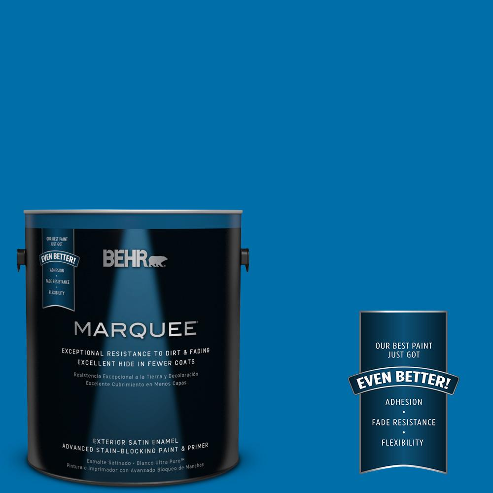 BEHR MARQUEE 1-gal. #560B-7 Cerulean Satin Enamel Exterior Paint
