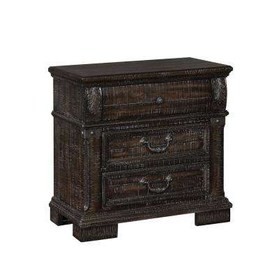 Clarees 3-Drawer Distressed Walnut Nightstand
