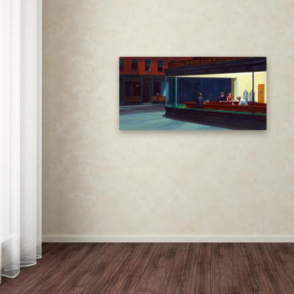 Trademark Fine Art Nighthawks By Edward Hopper Culture Wall Art 12 In X 24 In Aa01296 C1224gg The Home Depot