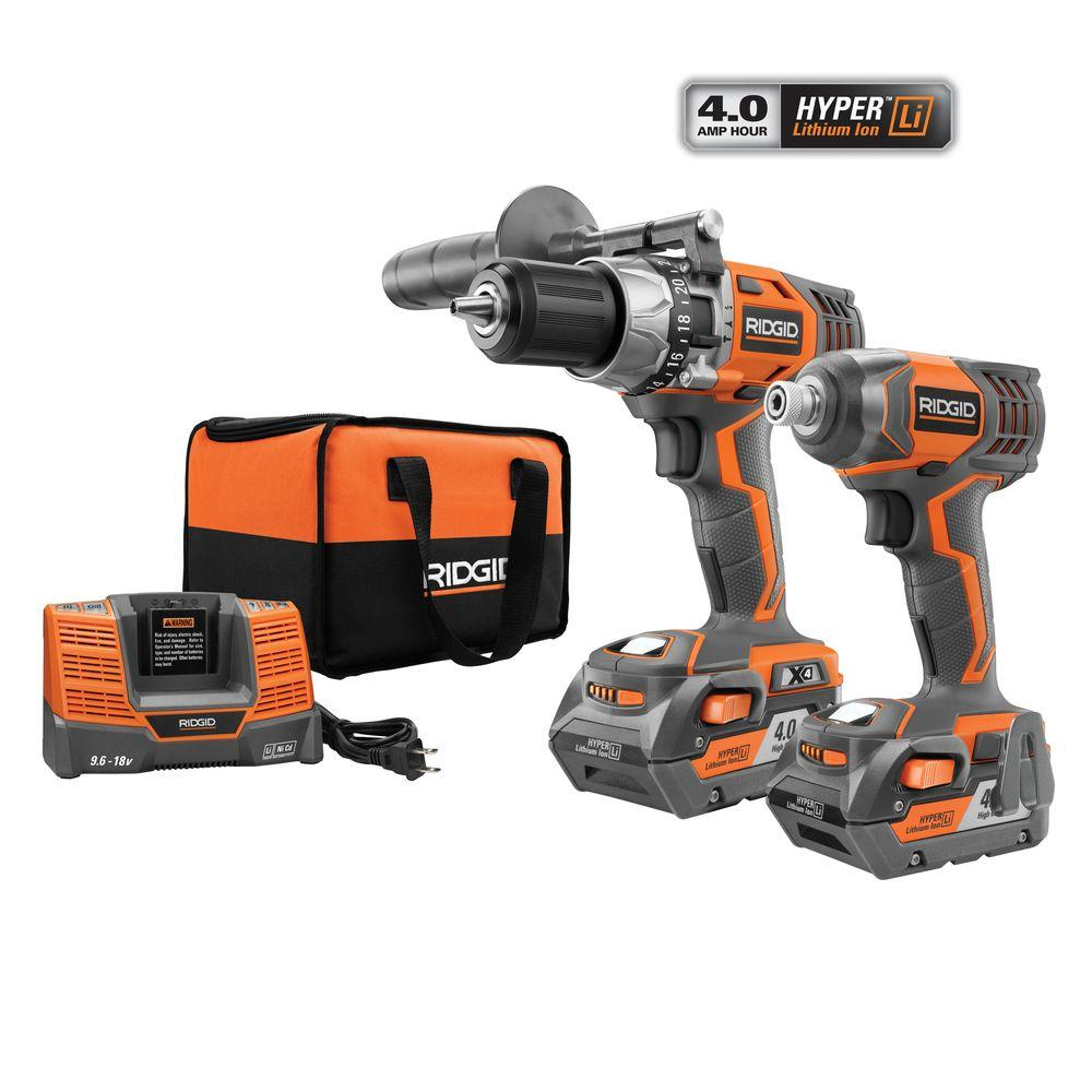 X4 18 Volt Hyper Lithium Ion Cordless Hammer Drill Driver And Impact Combo Kit