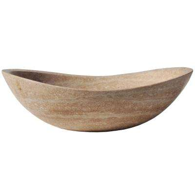 Stone Canoe Vessel Sink in Honed Beige Travertine