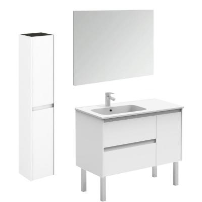 Ambra 35.6 in. W x 18.1 in. D x 32.9 in. H Bathroom Vanity Unit in Gloss White with Mirror and Column