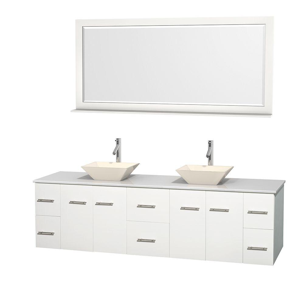 Wyndham Collection Centra 80 in. Double Vanity in White with Solid-Surface Vanity Top in White, Bone Porcelain Sinks and 70 in. Mirror