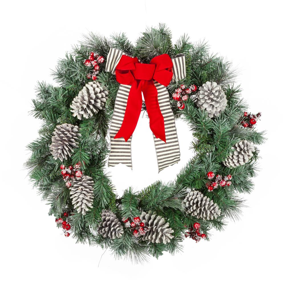 Home Accents Holiday 30 in. Snowy Pine Artificial Wreath with Pinecones and Berries