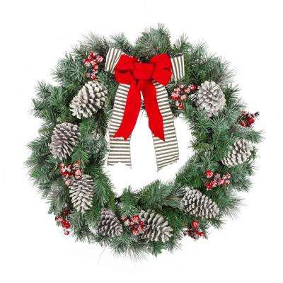 snowy pine artificial wreath with pinecones and berries - Artificial Christmas Wreaths Decorated