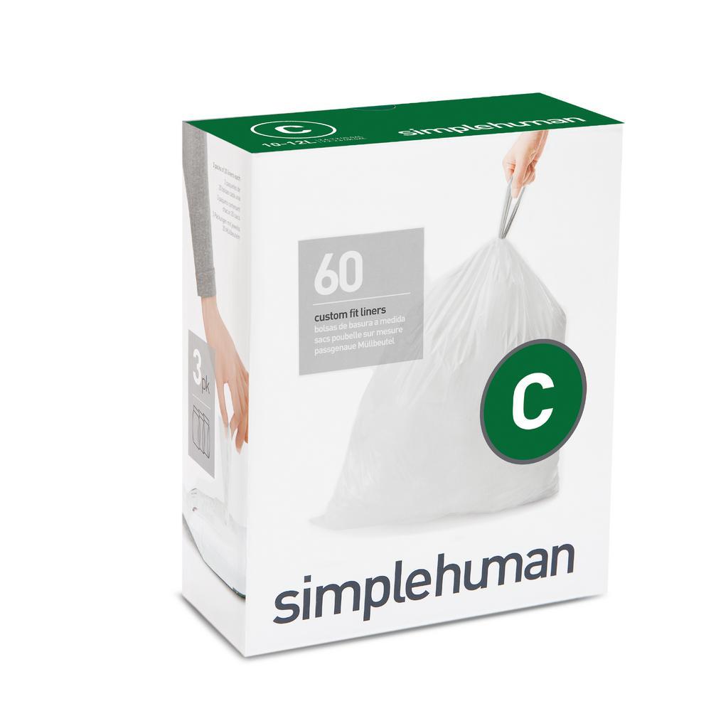 Simplehuman 2 6 3 Gal Custom Fit Trash Can Liner Code C 60
