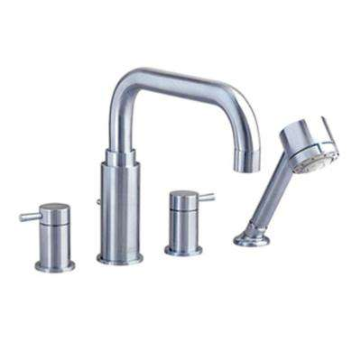 Serin Lever 2-Handle Deck-Mount Roman Tub Faucet with Hand Shower in Brushed Nickel