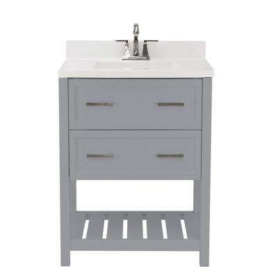 Milan 25 in. Bath Vanity in Grey with Cultured Marble Vanity Top with Backsplash in White with White Basin