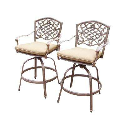 Mississippi Swivel Aluminum Outdoor Bar Stool with Sunbrella Beige Cushion (2-Pack)