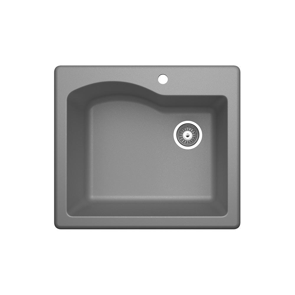 Drop-In/Undermount Granite 25 in. 1-Hole Single Bowl Kitchen Sink in Metallico
