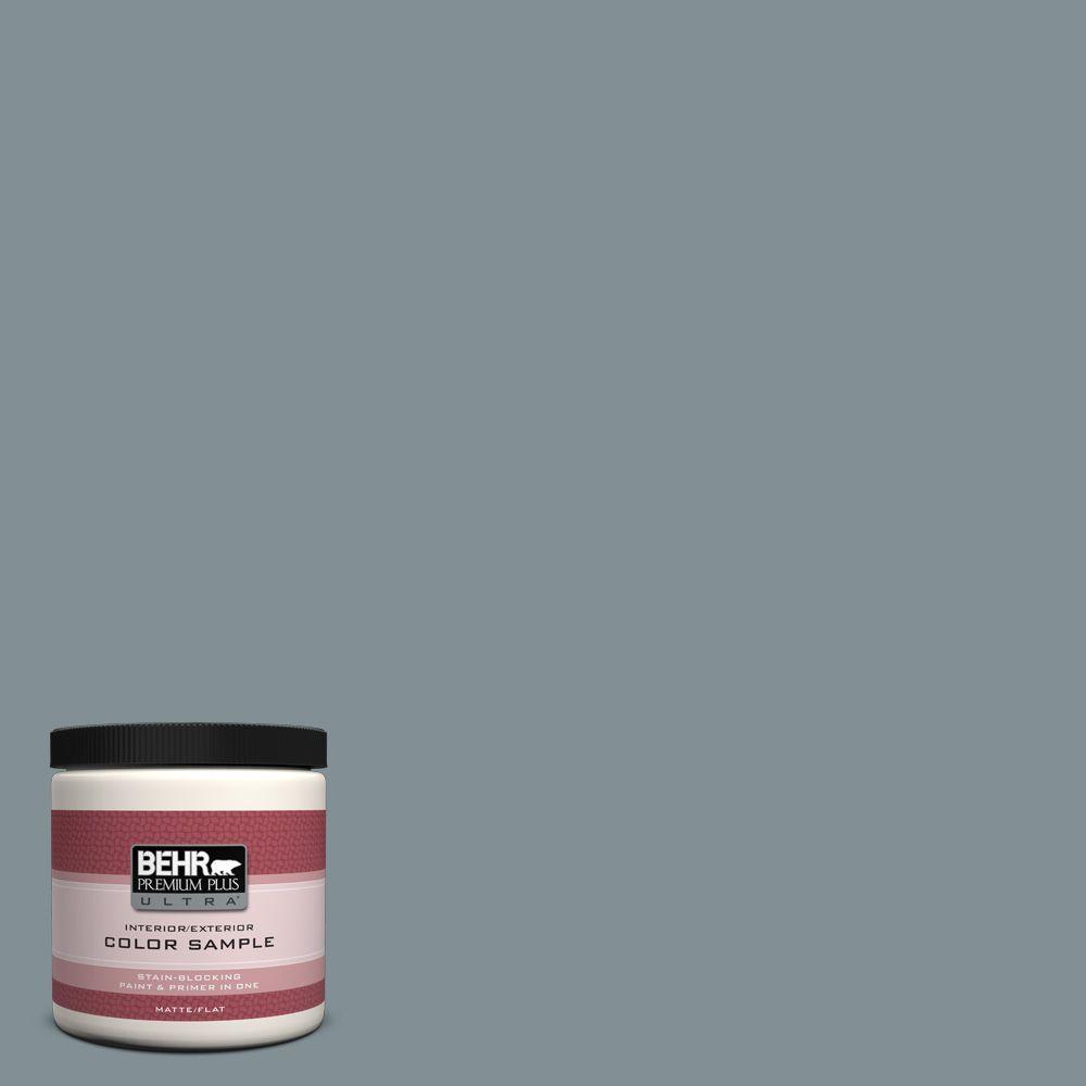 BEHR Premium Plus Ultra 8 oz. #740F-4 Dark Storm Cloud Flat Interior/Exterior Paint and Primer in One Sample