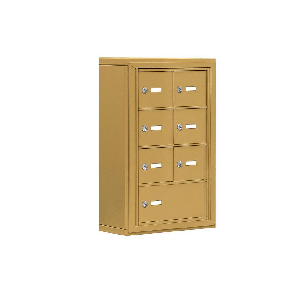 Salsbury Industries 19000 Series 17.5 in. W x 25.5 in. H x 6.25 in. D 6 A / 1 B Doors S-Mount Keyed Locks Cell Phone Locker in Gold
