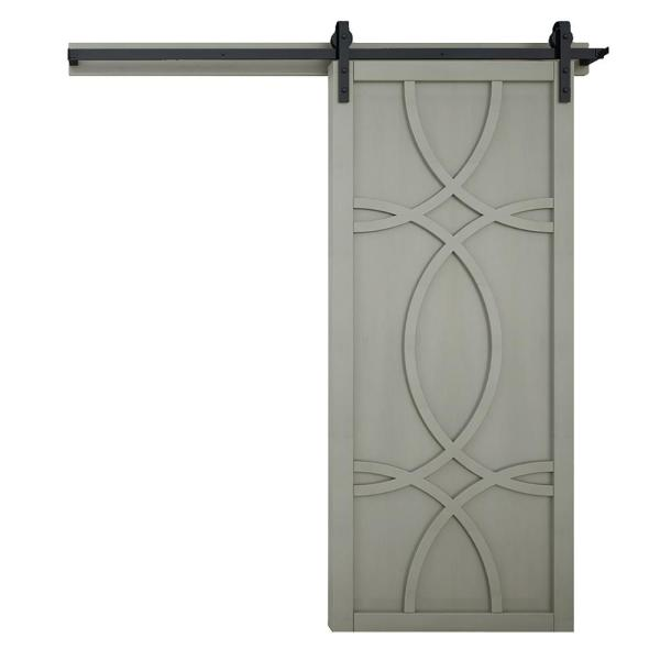 42 in. x 84 in. Hollywood Dove Wood Sliding Barn Door with Hardware Kit