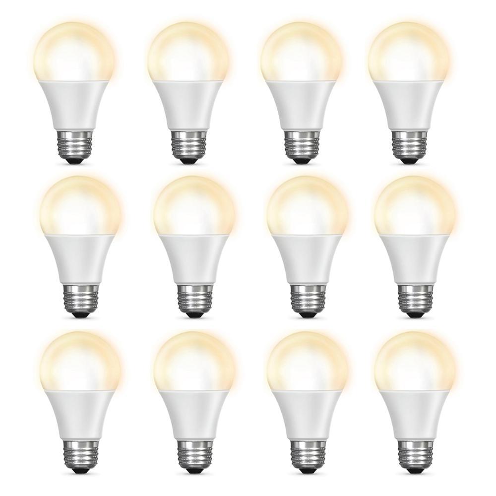 60-Watt Equivalent Soft White (2700K) A19 Dimmable Wi-Fi LED Smart Light Bulb (12-Pack)