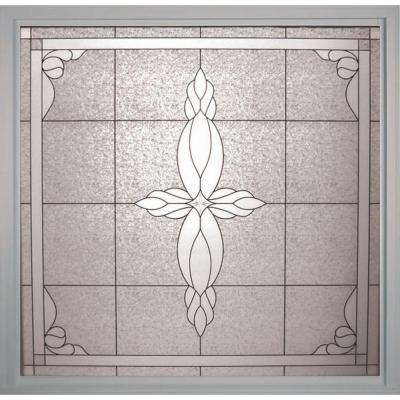 49.75 in. x 49.75 in. Decorative Glass Fixed Vinyl Glass Block Window in White