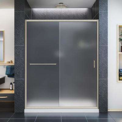 Infinity-Z 30 in. x 60 in. Semi-Frameless Sliding Shower Door in Brushed Nickel with Center Drain White Base